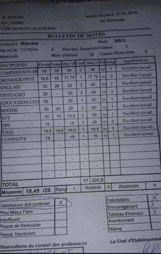 Kanel : Ramata Sall obtient une moyenne semestrielle de 19,49/20