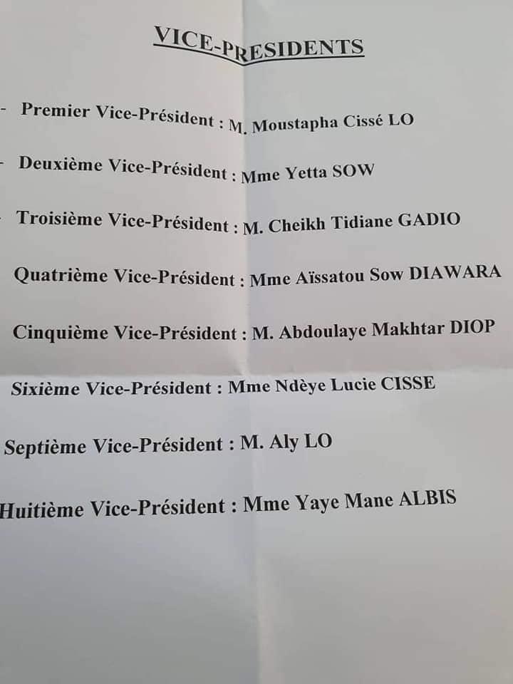 Assemblée nationale: Abdou Mbow et Awa Gueye ne sont plus vice-présidents, Gadio et d'autres rejoignent BBY
