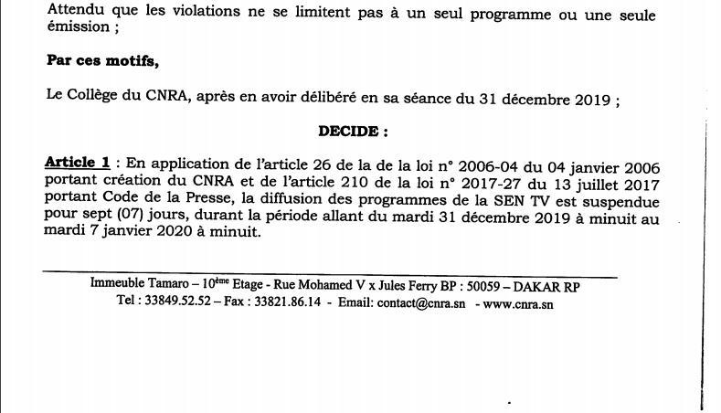 Urgent - Le CNRA suspend les programmes de la Sen TV [Document]