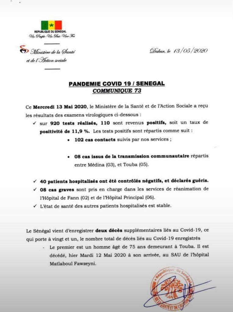 Covid-19 au Sénégal : 2 nouveaux décès, 110 tests positifs et 8 cas graves