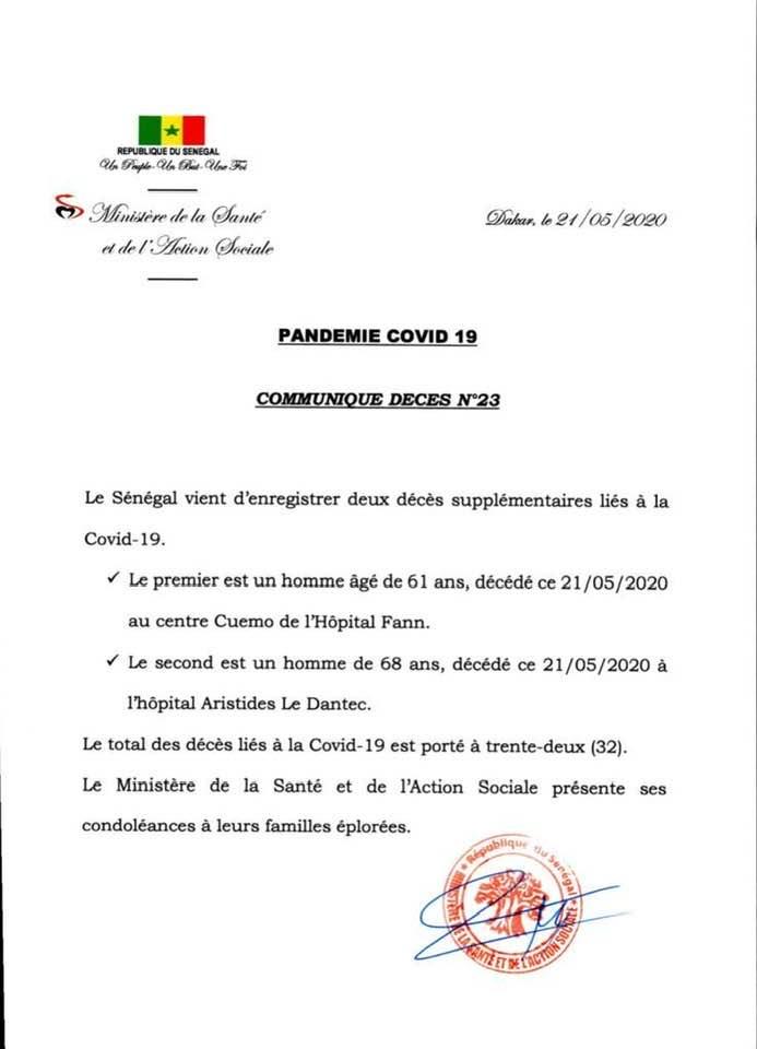 Covid-19 : encore 2 nouveaux décès au Sénégal