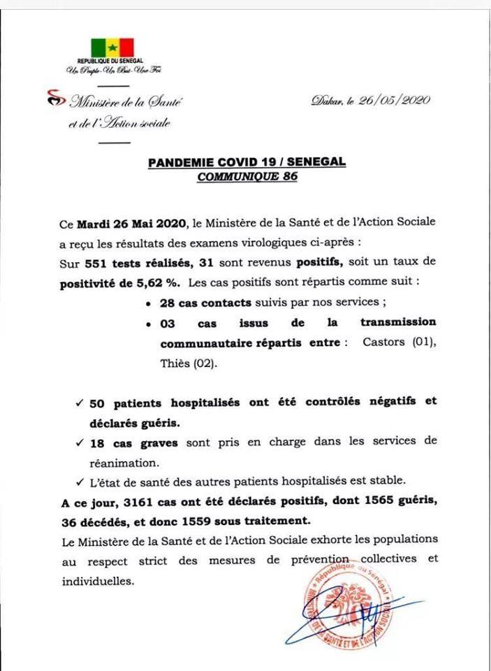 Covid-19 au Sénégal : 31 cas positifs, 50 guérisons et 18 malades dans un état grave