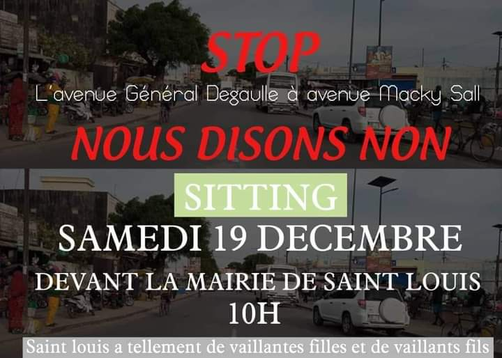 L'Avenue Général de Gaulle au nom de Macky SALL : des Saint-Louisiens vont protester devant la Mairie, samedi