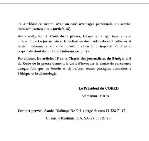 La TFM « refuse » de parler de la détention de son patron, Dmédia « bat campagne» pour Bougane, le CORED épingle tout le monde