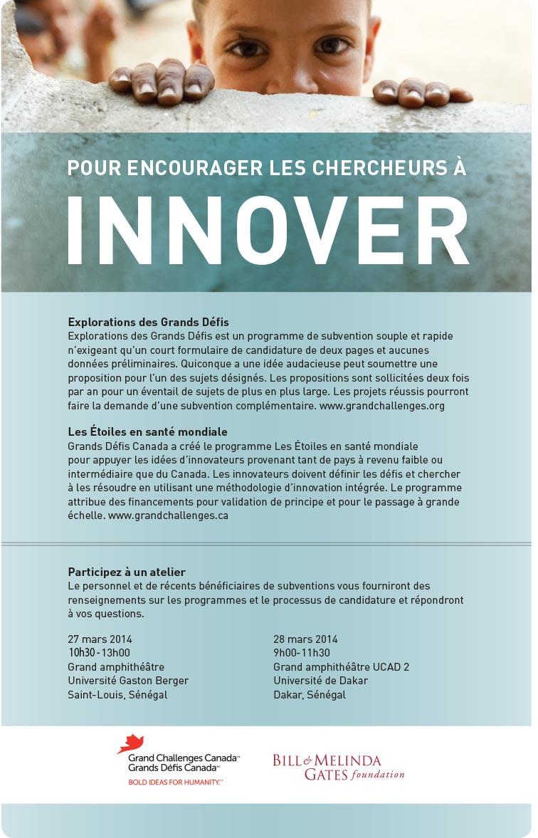 UGB: Atelier Grands Challenges de la Fondation Bill et Melinda GATES, ce jeudi 27 mars 2014