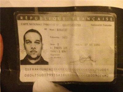 Carte d'identité de Saïd Kouachi, qui aurait été oubliée dans la Citroën C3 utilisée lors de l'attaque de Charlie Hebdo. © DR