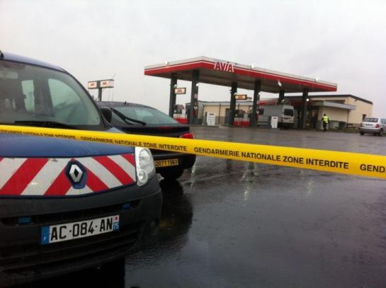 La station-service de Villers-Cotterêts (Aisne) où les deux suspects de l'attentat de Charlie Hebdo ont été aperçus jeudi. (LP/Elisabeth Garder.)