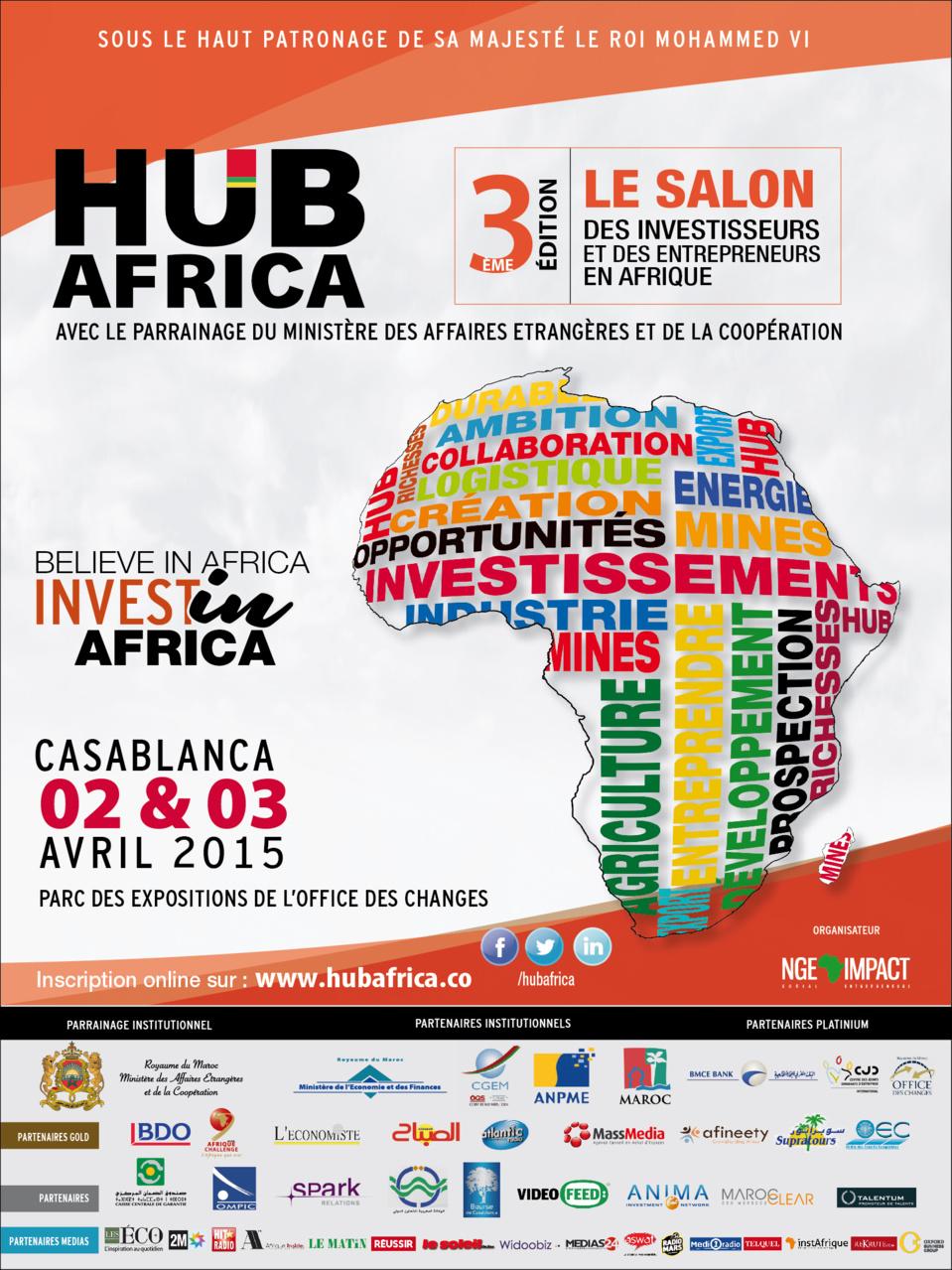 Casablanca, capitale de l'investissement et de l'Entrepreneuriat en Afrique, les 2 et 3 avril 2015.