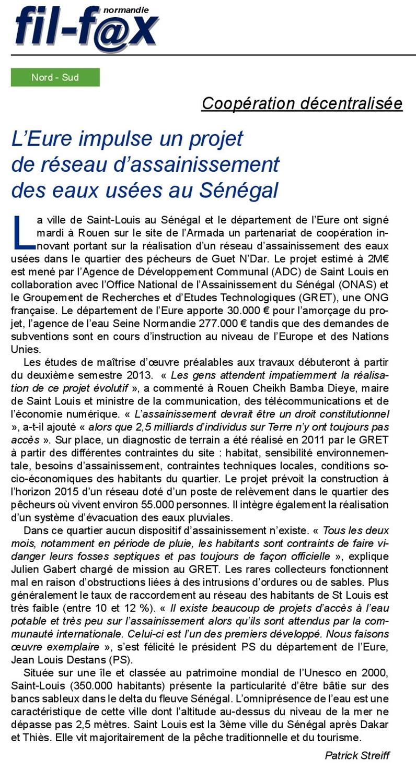 Coopération entre Saint-Louis et le Département de l'Eure: Témoignages de Jean Louis DESTANS (archives)