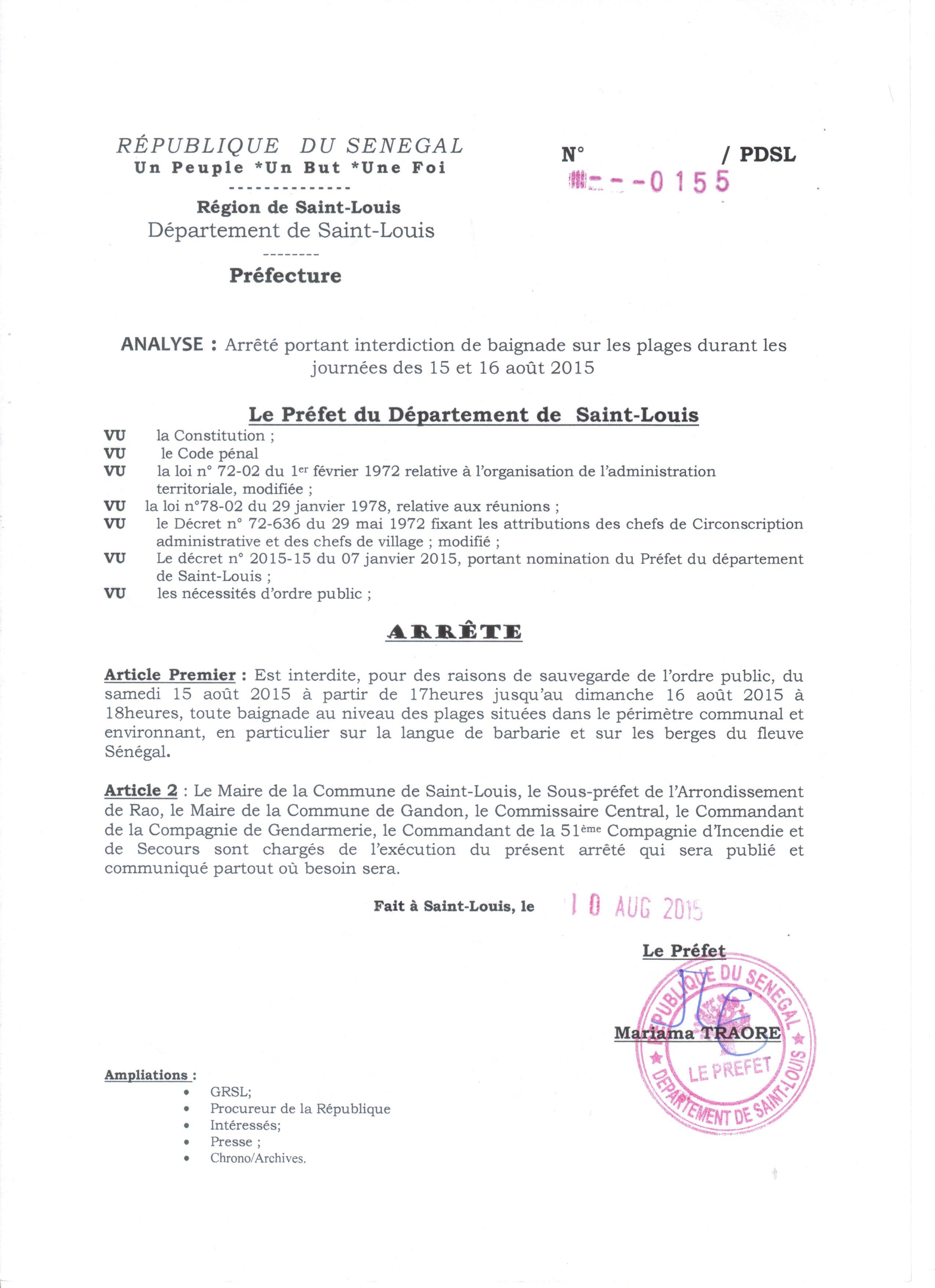 URGENT: Interdiction de la baignade sur les plages de Saint-Louis, le 15 et 16 août 2015 ( arrêté préfectoral).