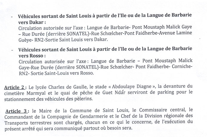 MAGAL DES 2 RAAKA: Voici le nouveau plan de circulation à Saint-Louis (documents)