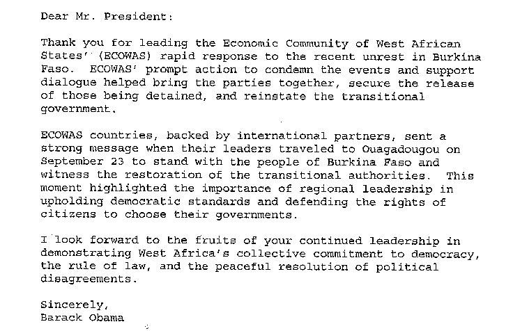 DOCUMENT - La Lettre d'OBAMA au Président Macky SALL