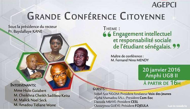 CITOYENNETÉ : une conférence sur l'engagement intellectuel et la responsabilité sociale de l'étudiant sénégalais, à l'UGB, le 20 janvier.