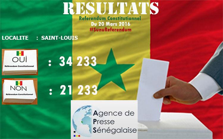 """Saint-Louis : 34.233 pour le """"OUI"""", 21.233 pour le """"NON"""", 40, 04 % de participation."""