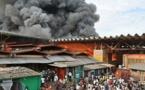 Urgent : Incendie maitrisé au marché Ndar Toute.