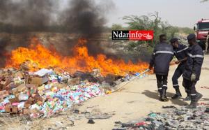 Saint-Louis: des produits illicites d'une valeur de 3 milliards FCFA incinérés, ce matin. Regardez !
