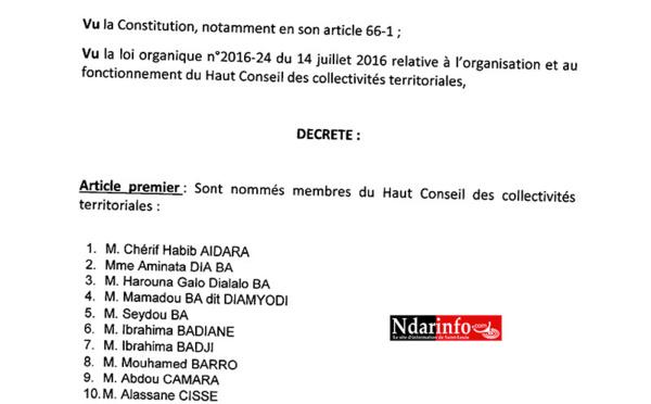 HCCT: la liste des membres nommés par le Président Macky SALL