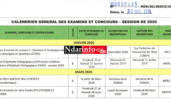 Le Calendier général des Examens et Concours 2020
