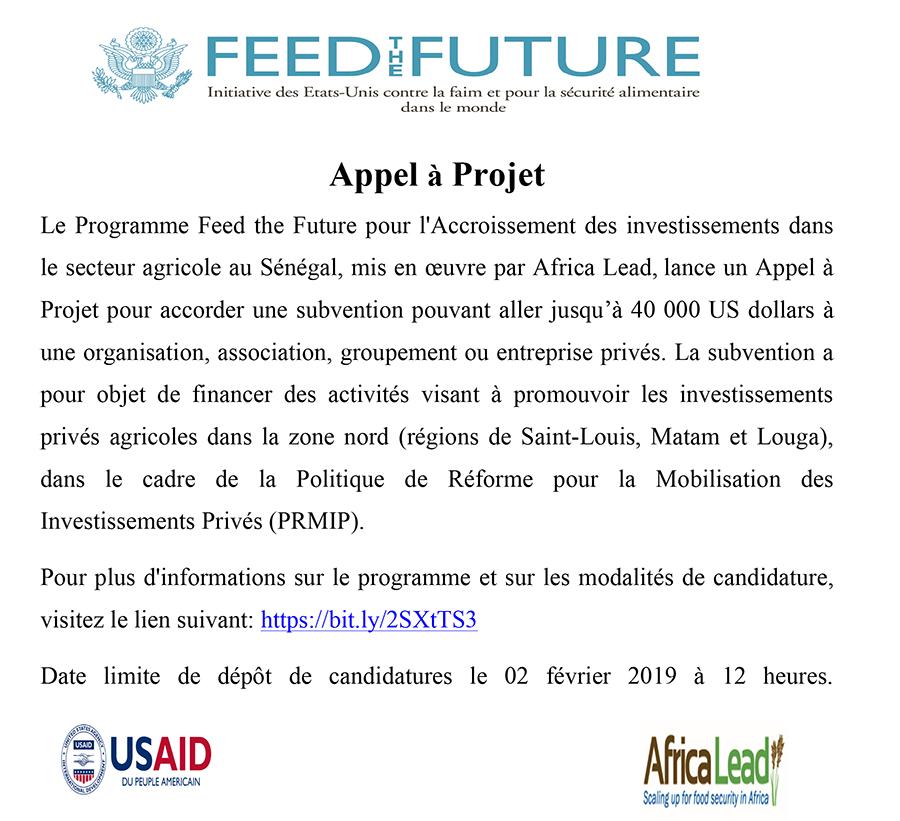 Appel à Projet du Programme Feed the Future